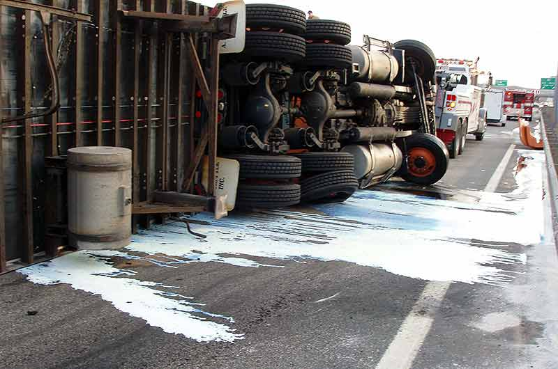 Overturned Tractor Trailer Spill